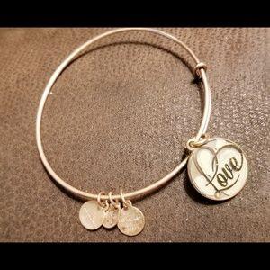 Alex & Ani Gold Heart Love Charm Bangle Bracelet